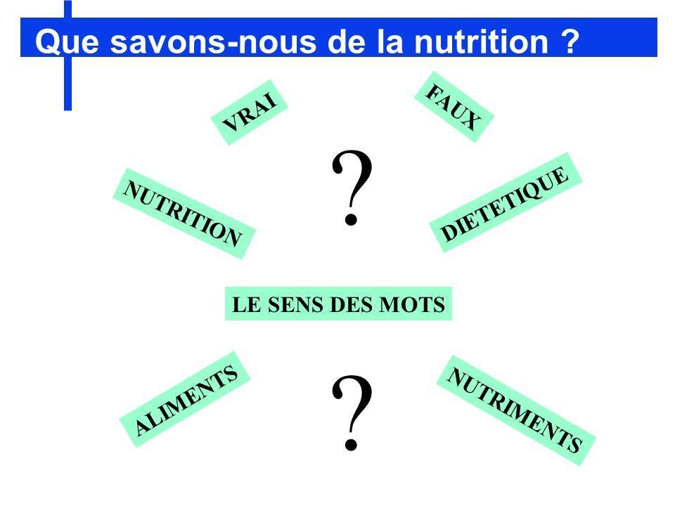 Que savons-nous de la nutrition FAUX VRAI DIETETIQUE NUTRITION