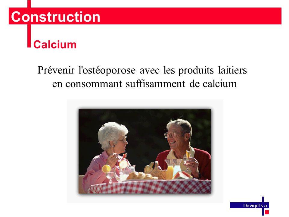 Construction Calcium. Prévenir l ostéoporose avec les produits laitiers en consommant suffisamment de calcium.