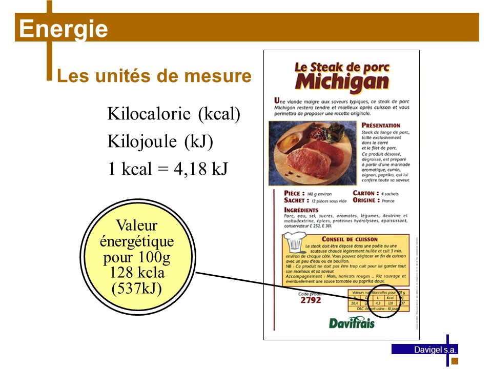 Energie Les unités de mesure Kilocalorie (kcal) Kilojoule (kJ)