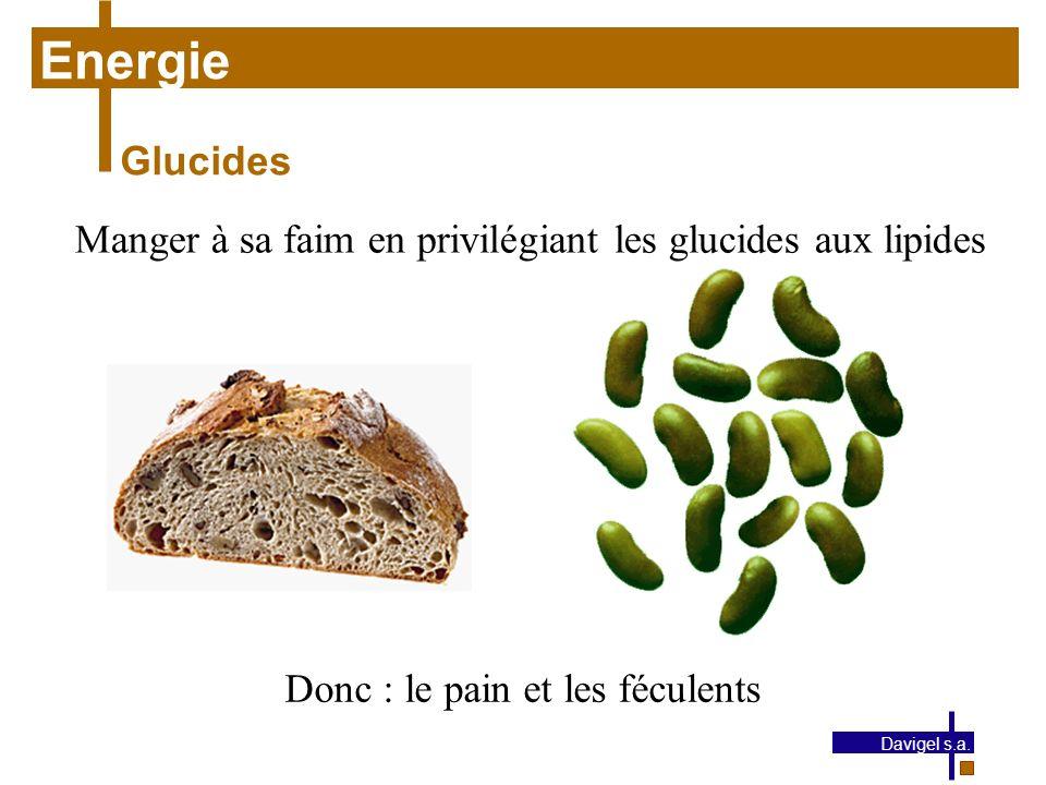 Energie Glucides. Manger à sa faim en privilégiant les glucides aux lipides. Donc : le pain et les féculents.