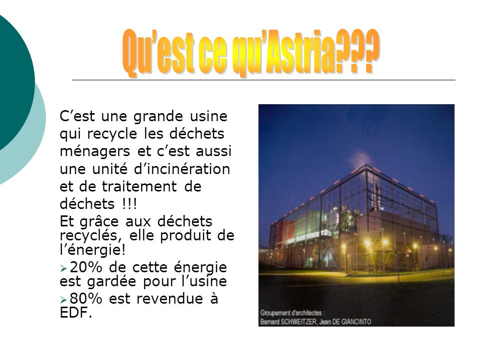 Qu'est ce qu'Astria C'est une grande usine qui recycle les déchets