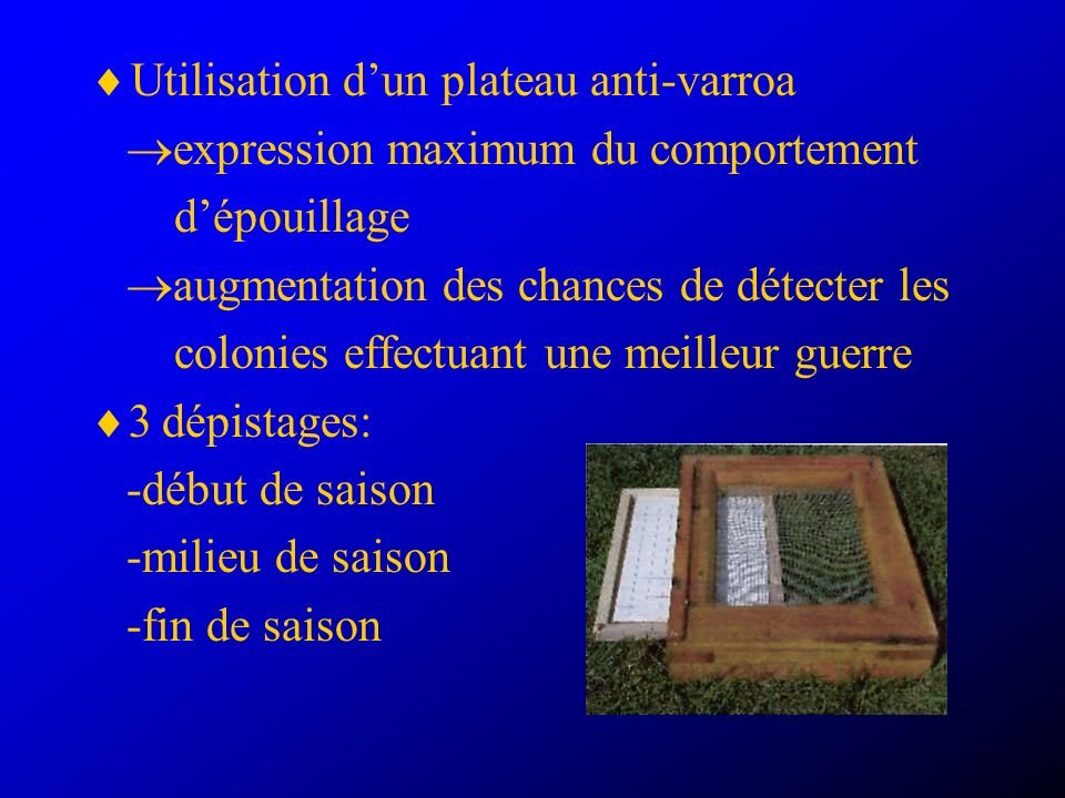 Utilisation d'un plateau anti-varroa