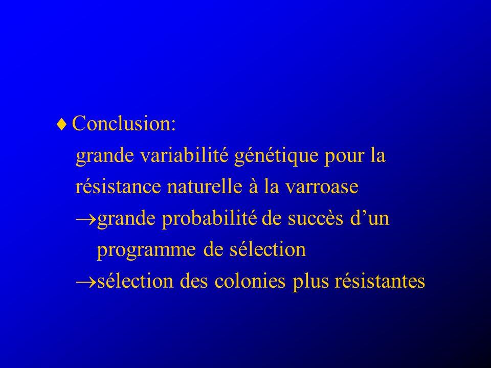 Conclusion: grande variabilité génétique pour la. résistance naturelle à la varroase. grande probabilité de succès d'un.