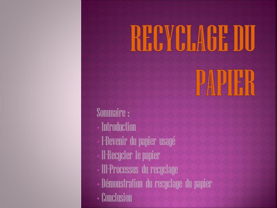 Recyclage du papier Sommaire : Introduction I-Devenir du papier usagé