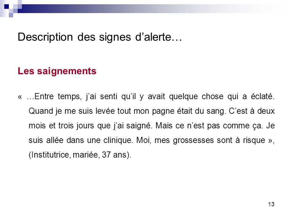 Description des signes d'alerte…