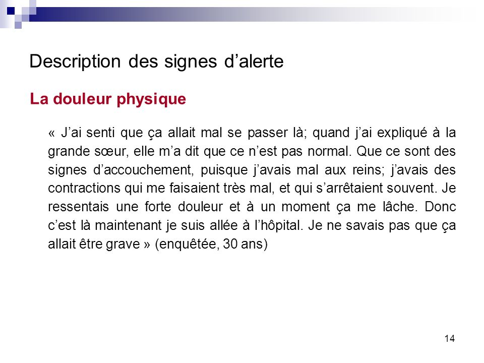Description des signes d'alerte