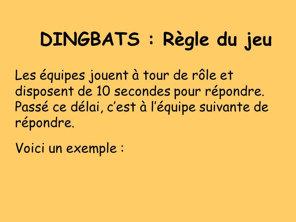 DINGBATS : Règle du jeu Les équipes jouent à tour de rôle et
