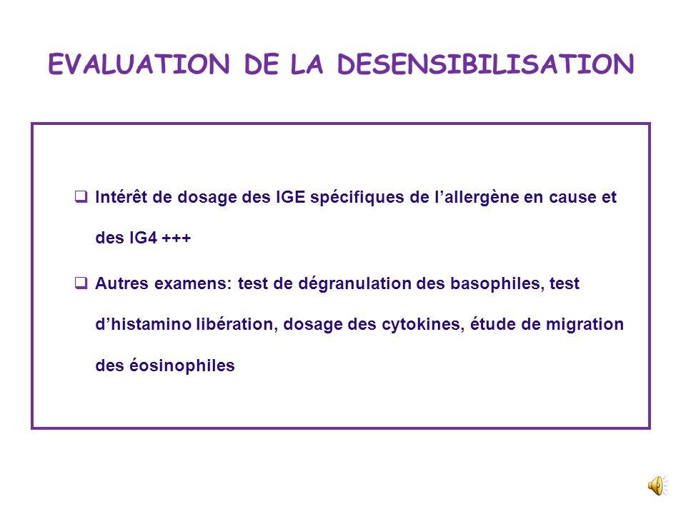 EVALUATION DE LA DESENSIBILISATION