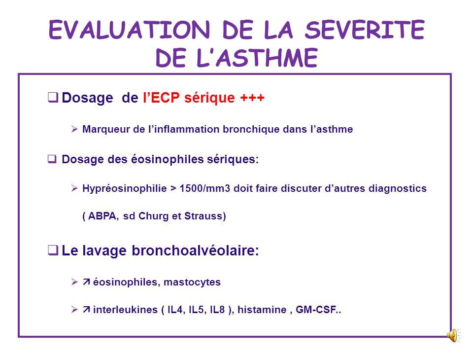 EVALUATION DE LA SEVERITE DE L'ASTHME