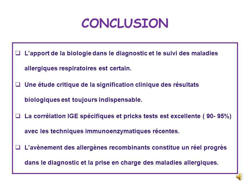 CONCLUSION L'apport de la biologie dans le diagnostic et le suivi des maladies allergiques respiratoires est certain.