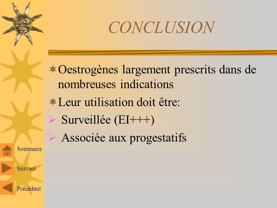 CONCLUSION Oestrogènes largement prescrits dans de nombreuses indications. Leur utilisation doit être: