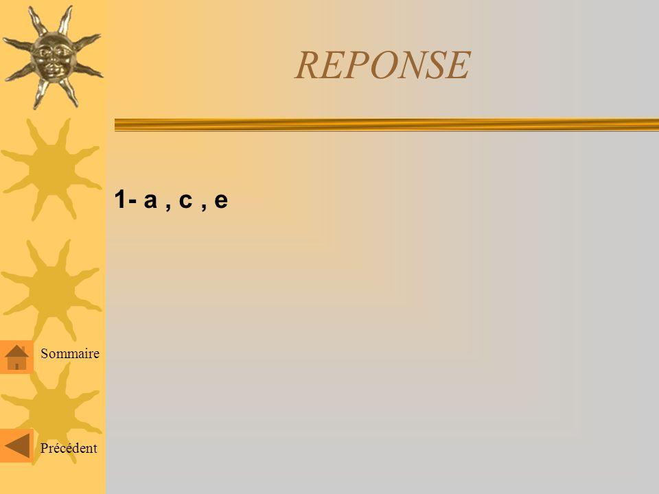 REPONSE 1- a , c , e Sommaire Précédent