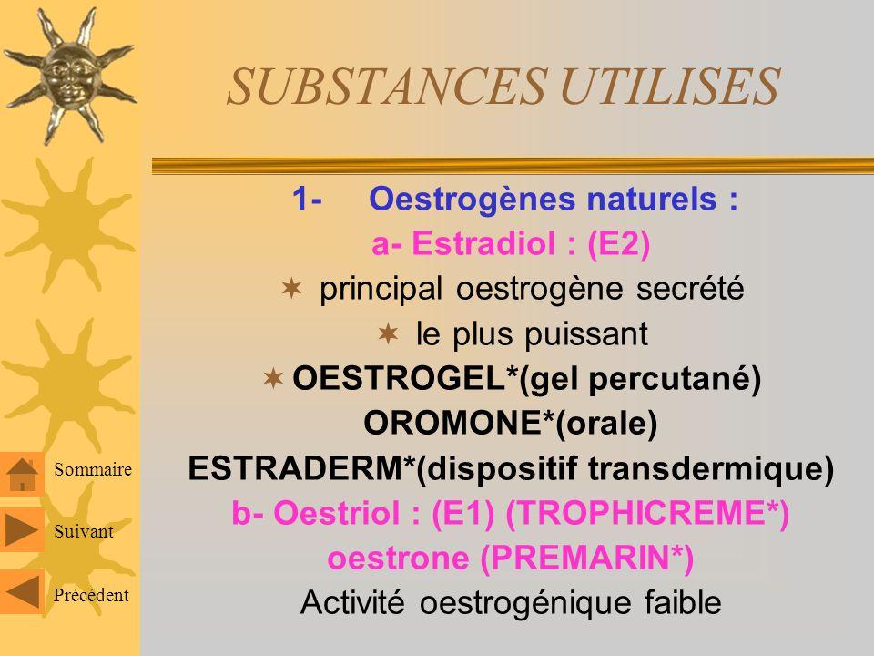 SUBSTANCES UTILISES 1- Oestrogènes naturels : a- Estradiol : (E2)