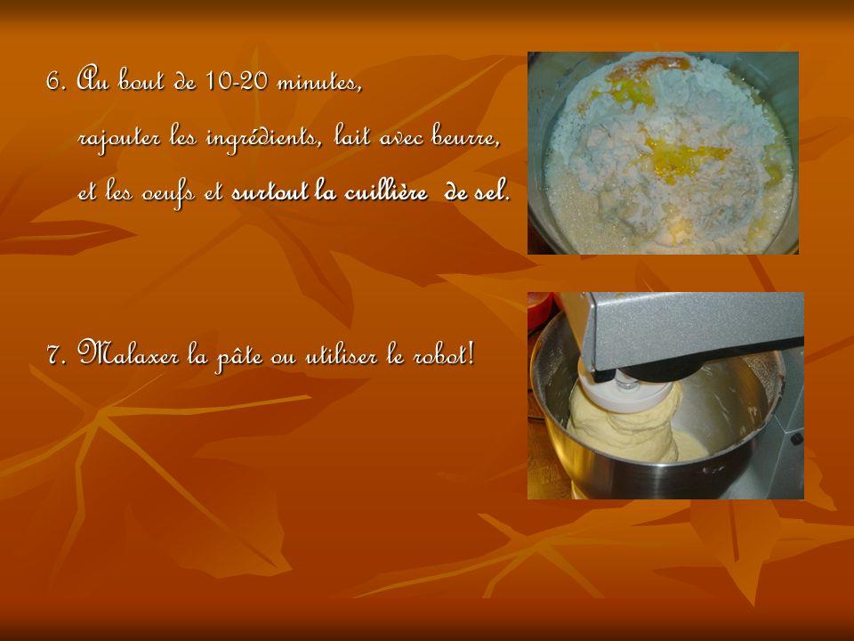 6. Au bout de 10-20 minutes, rajouter les ingrédients, lait avec beurre, et les oeufs et surtout la cuillière de sel.
