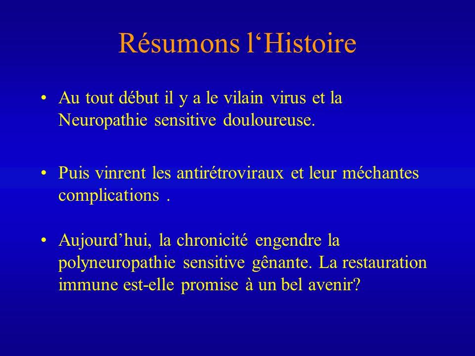 Résumons l'Histoire Au tout début il y a le vilain virus et la Neuropathie sensitive douloureuse.