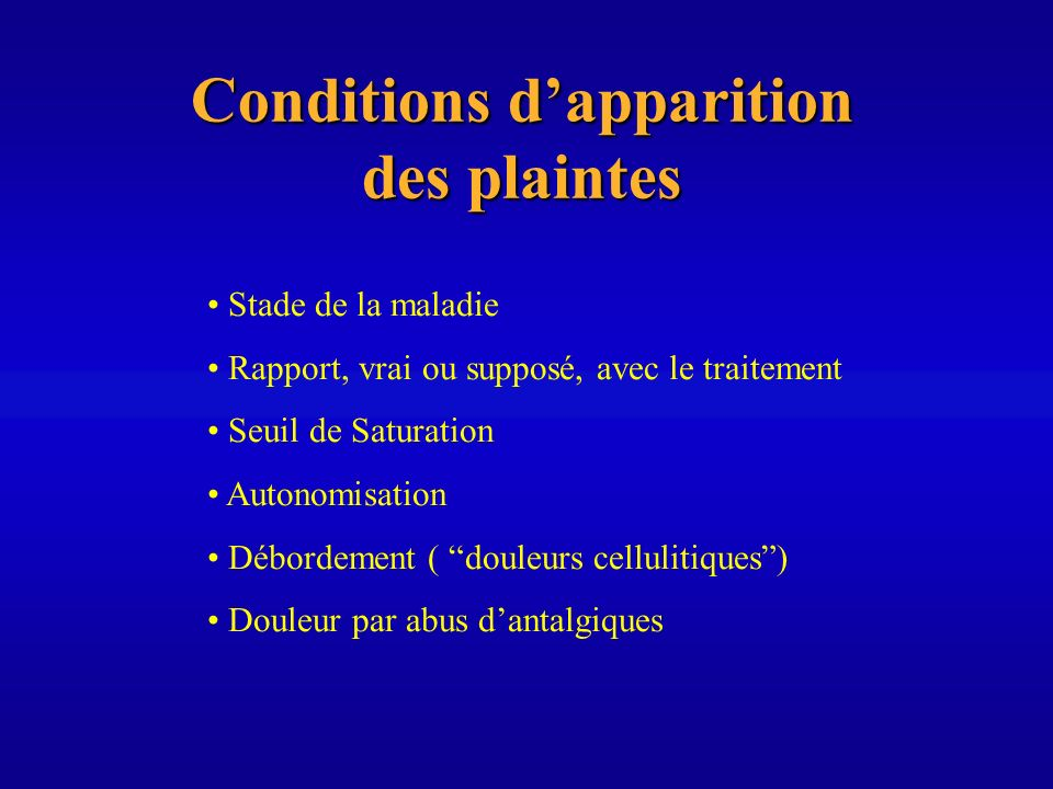 Conditions d'apparition des plaintes