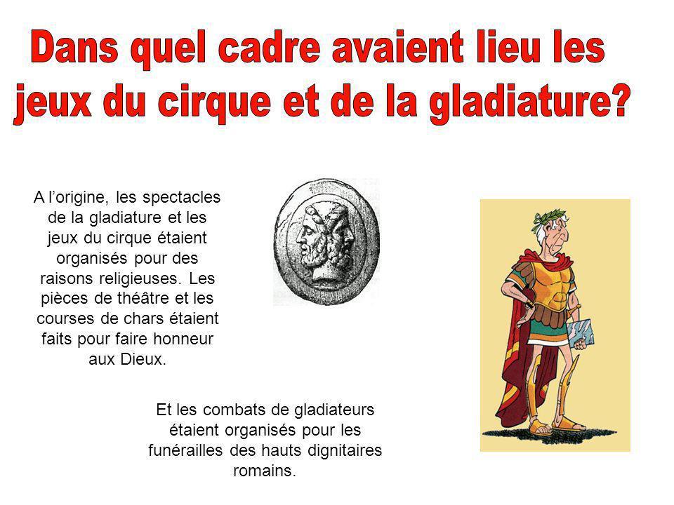 Dans quel cadre avaient lieu les jeux du cirque et de la gladiature