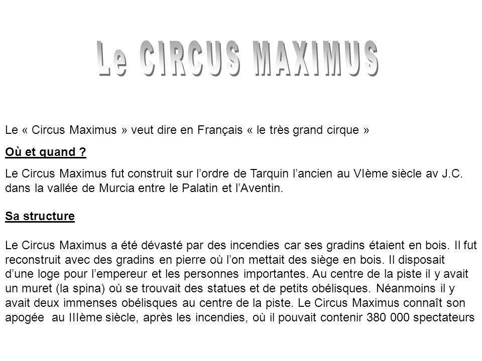 Le CIRCUS MAXIMUS Le « Circus Maximus » veut dire en Français « le très grand cirque » Où et quand