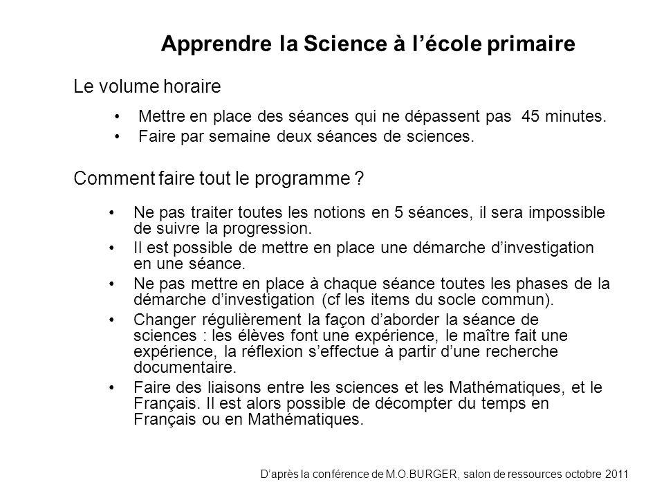 Apprendre la Science à l'école primaire