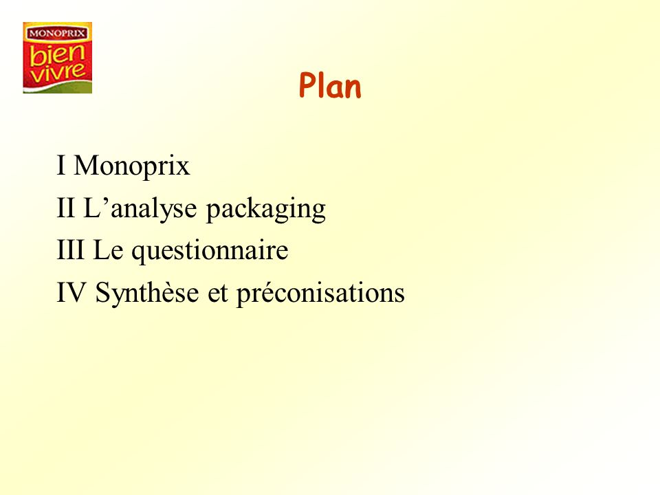 Plan I Monoprix II L'analyse packaging III Le questionnaire