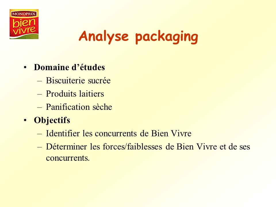Analyse packaging Domaine d'études Biscuiterie sucrée