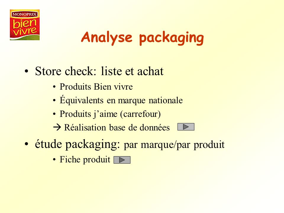 Analyse packaging Store check: liste et achat