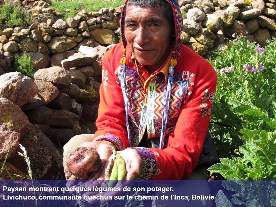 Paysan montrant quelques légumes de son potager.