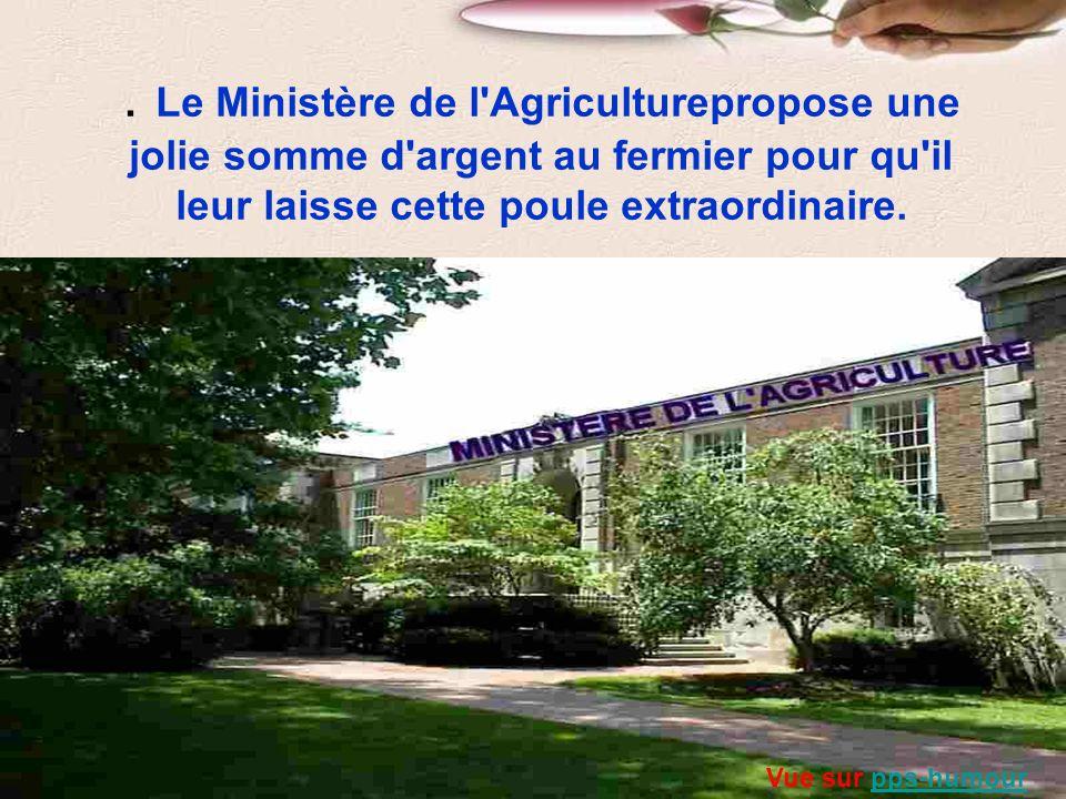 . Le Ministère de l Agriculturepropose une jolie somme d argent au fermier pour qu il leur laisse cette poule extraordinaire.