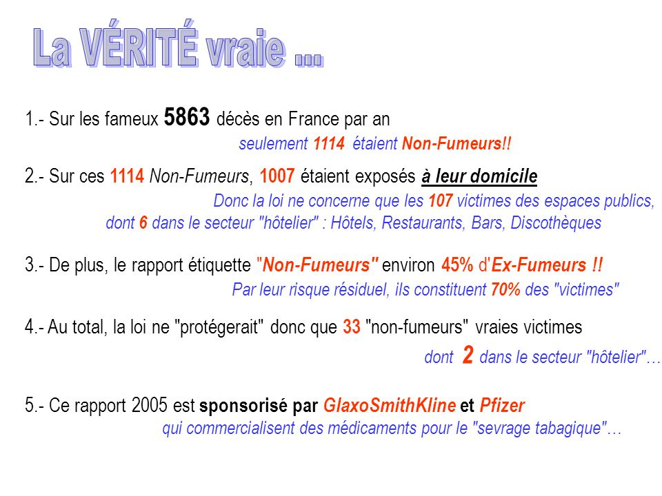La VÉRITÉ vraie … 1.- Sur les fameux 5863 décès en France par an