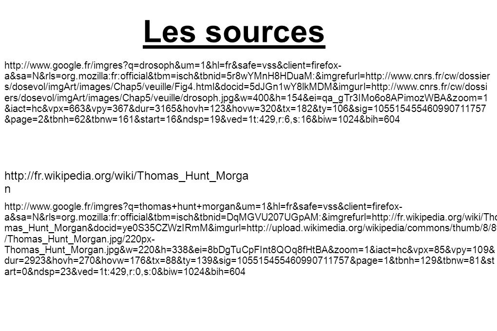 Les sources http://fr.wikipedia.org/wiki/Thomas_Hunt_Morgan