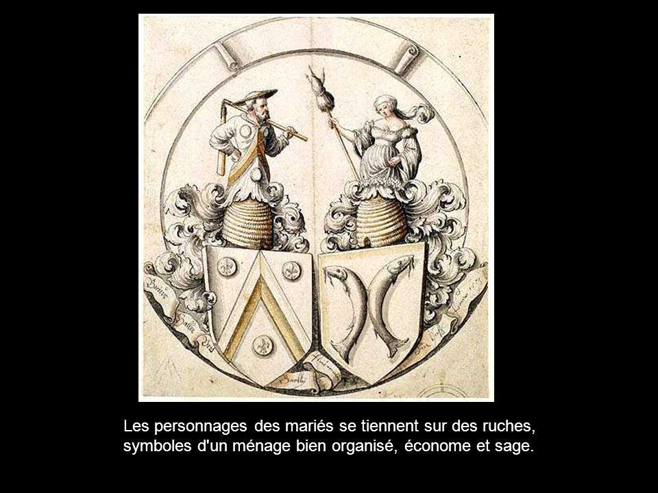 Les personnages des mariés se tiennent sur des ruches, symboles d un ménage bien organisé, économe et sage.