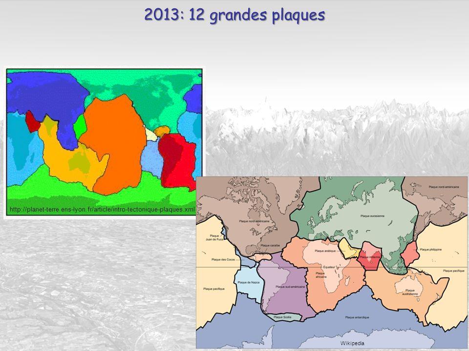 2013: 12 grandes plaques http://planet-terre.ens-lyon.fr/article/intro-tectonique-plaques.xml.