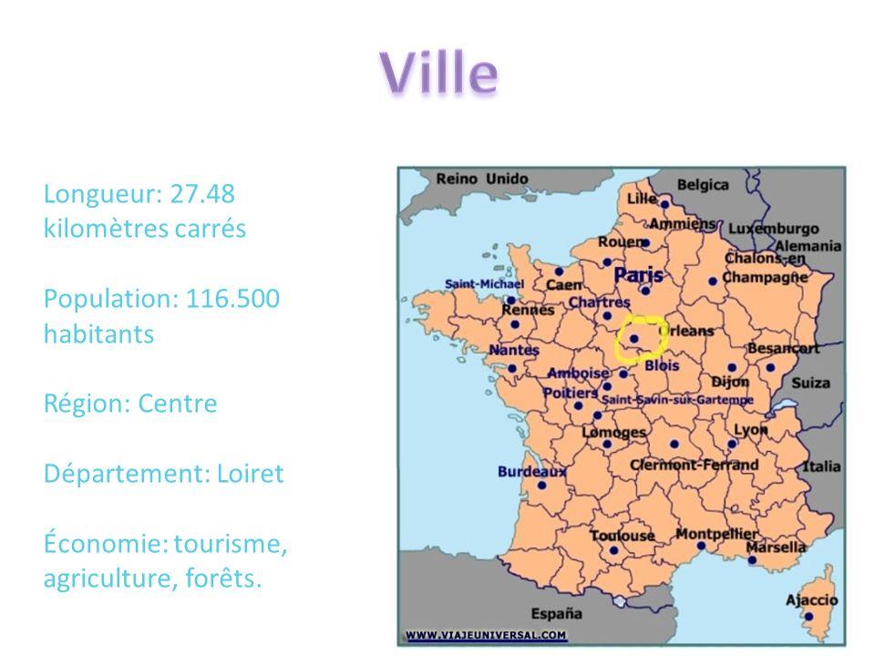 Ville Longueur: 27.48 kilomètres carrés Population: 116.500 habitants Région: Centre Département: Loiret Économie: tourisme, agriculture, forêts.