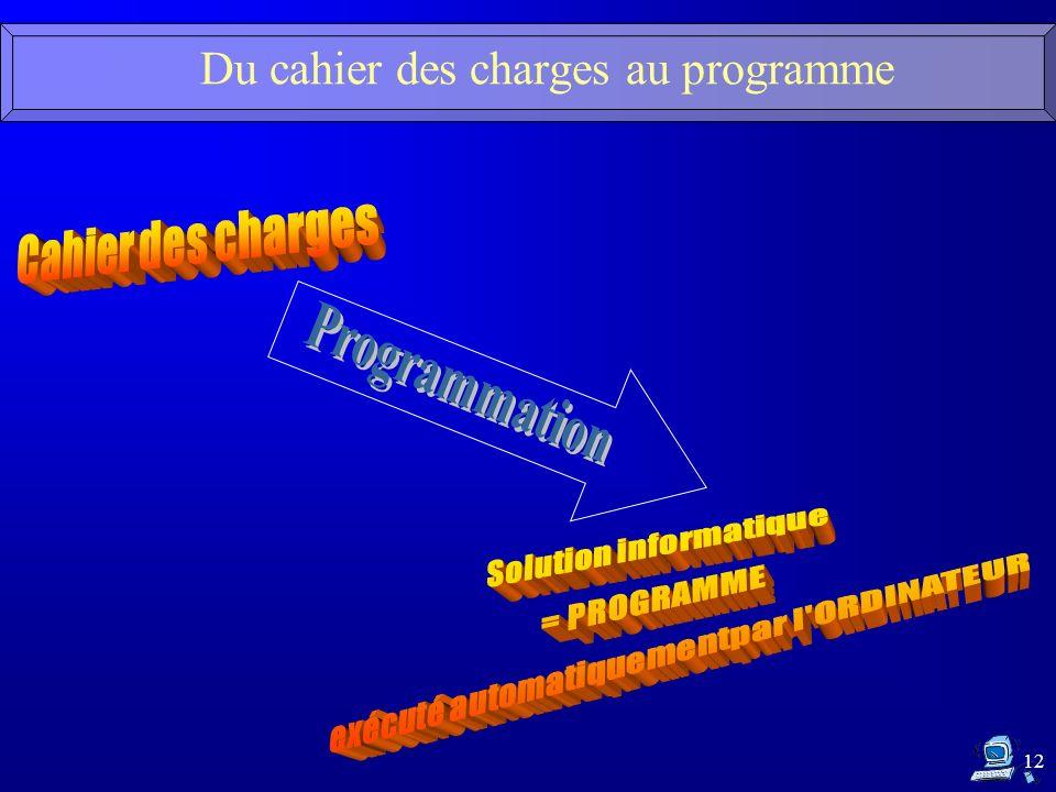 Du cahier des charges au programme