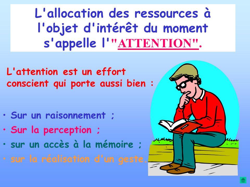 L allocation des ressources à l objet d intérêt du moment s appelle l ATTENTION .