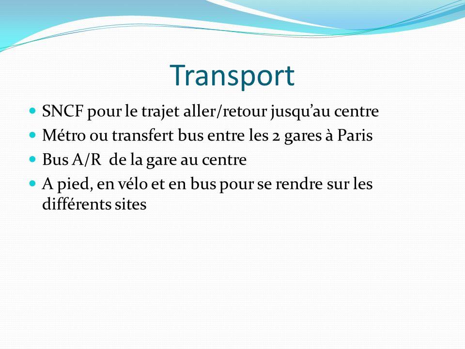 Transport SNCF pour le trajet aller/retour jusqu'au centre