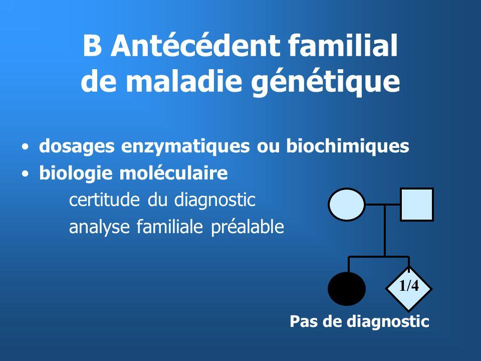 B Antécédent familial de maladie génétique