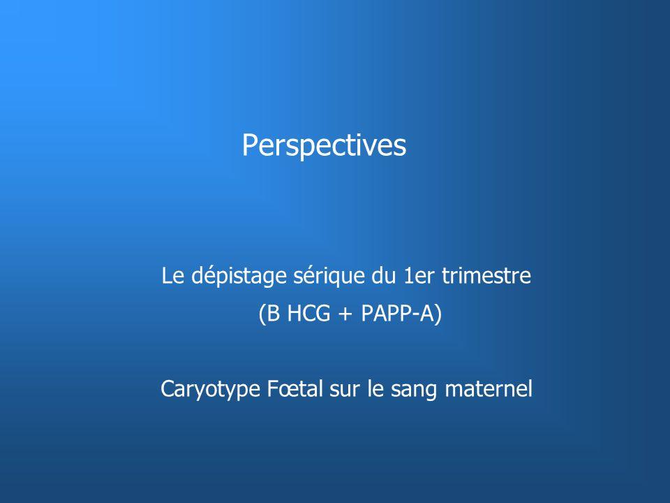 Perspectives Le dépistage sérique du 1er trimestre (B HCG + PAPP-A) Caryotype Fœtal sur le sang maternel