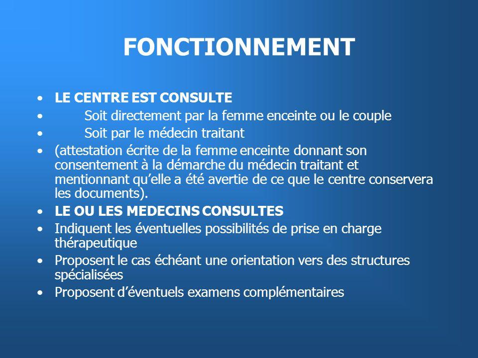 FONCTIONNEMENT LE CENTRE EST CONSULTE