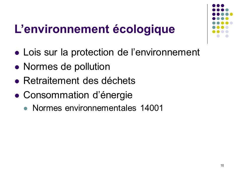 L'environnement écologique