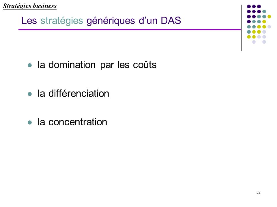 Les stratégies génériques d'un DAS