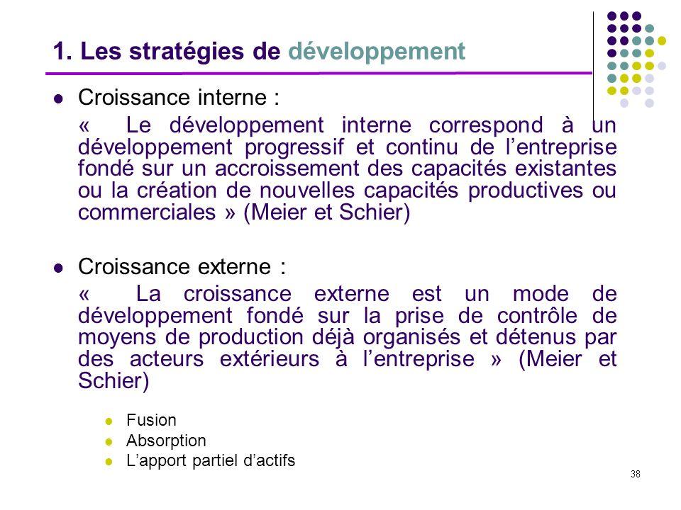 1. Les stratégies de développement
