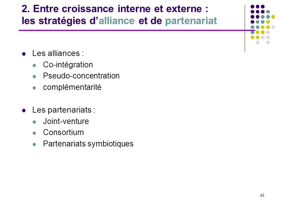 2. Entre croissance interne et externe : les stratégies d'alliance et de partenariat