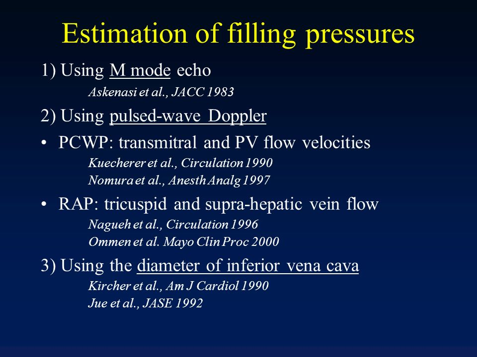 Estimation of filling pressures