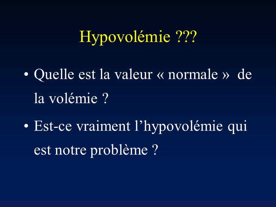 Hypovolémie Quelle est la valeur « normale » de la volémie