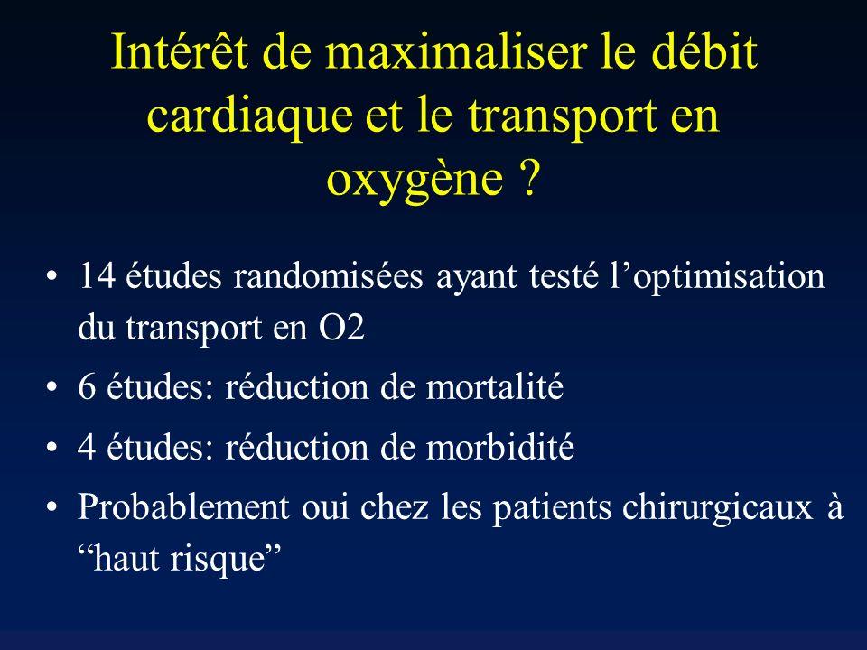 Intérêt de maximaliser le débit cardiaque et le transport en oxygène