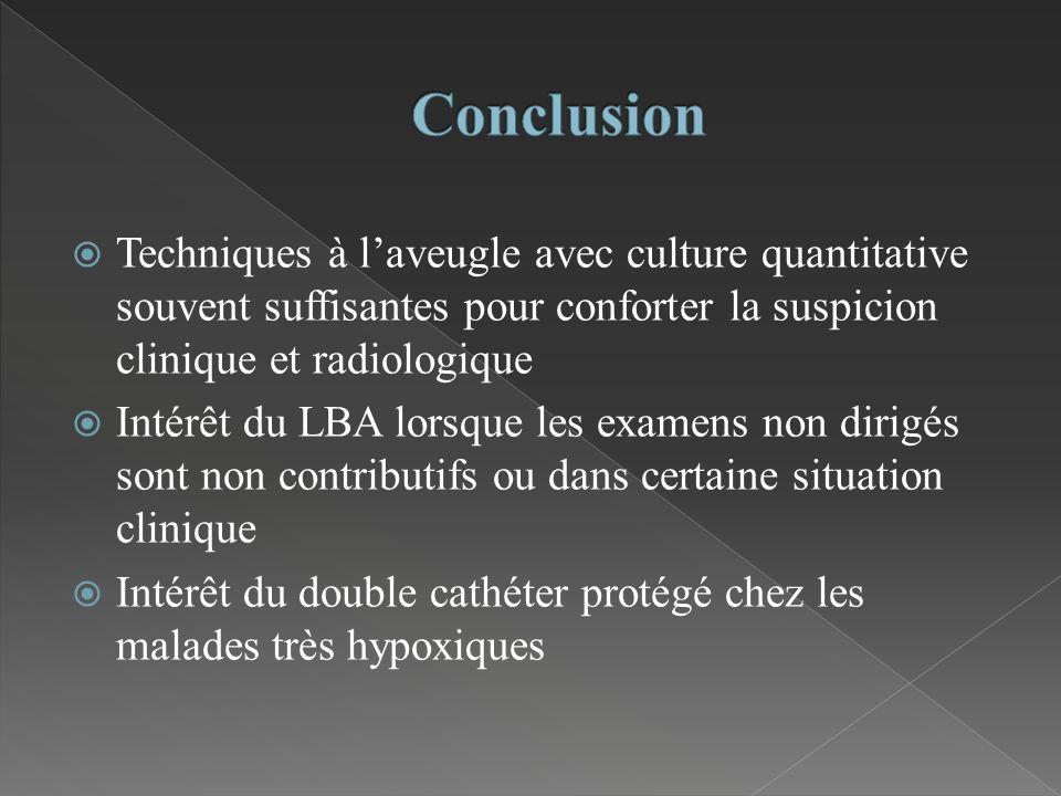 Conclusion Techniques à l'aveugle avec culture quantitative souvent suffisantes pour conforter la suspicion clinique et radiologique.