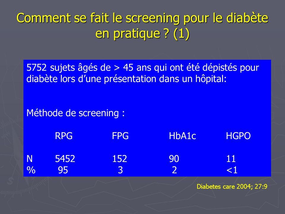 Comment se fait le screening pour le diabète en pratique (1)