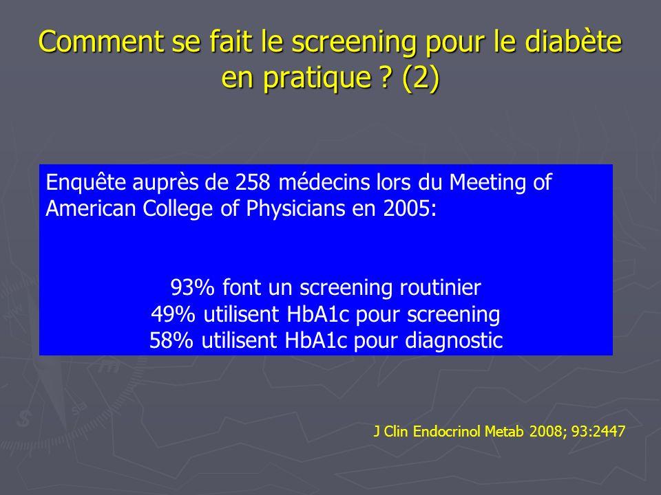 Comment se fait le screening pour le diabète en pratique (2)