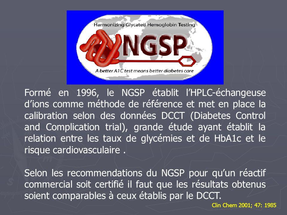 Formé en 1996, le NGSP établit l'HPLC-échangeuse d'ions comme méthode de référence et met en place la calibration selon des données DCCT (Diabetes Control and Complication trial), grande étude ayant établit la relation entre les taux de glycémies et de HbA1c et le risque cardiovasculaire .